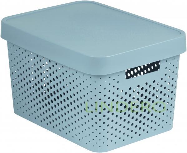 фото: Коробка INFINITY перфорированная с крышкой 17л серая [04742-099-00]