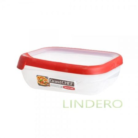 фото: Емкость для морозилки и СВЧ GRAND CHEF 1.2л прямоугольная (красная крышка) [07379-416-03]