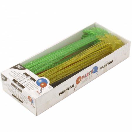 фото: Пики пластик ПАЛЬМА 30см 50шт мерцающие цвета в ассортименте [12731]