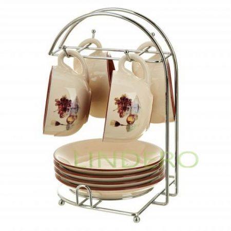 фото: Кофейный набор на металлической подставке 4 предмета ЗОЛОТОЙ ПЕТУШОК керамика [PS3040070]