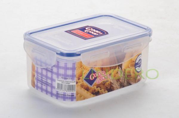 фото: Пластиковый контейнер для продуктов с зажимом  0.63 л [02-2]