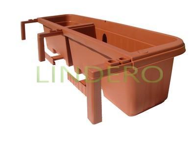 фото: Балконный ящик с крючками РОНДИНЕ 80см (терракот) [30225]