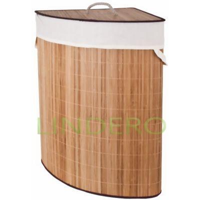 фото: Корзина для белья бамбуковая угловая, 65 л [ASB386]