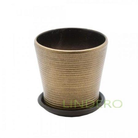 фото: Керамический горшок с подставкой, 0,3л., бронзовый (глянец) [bh-05-10]