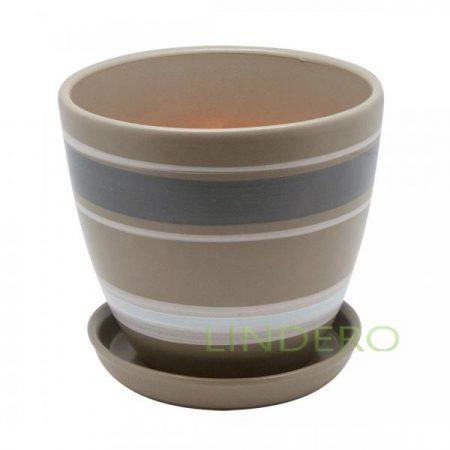 фото: Керамический горшок с подставкой, 2,4л., серый с белыми полосками [bh-18-2]