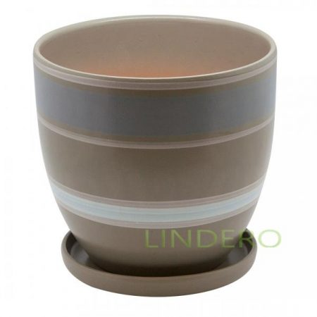фото: Керамический горшок с подставкой, 4,7л., серый с белыми полосками [bh-18-3]