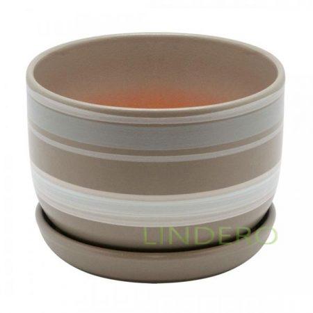 фото: Керамический горшок с подставкой, 1,65л., серый с белыми полосками [bh-18-5]