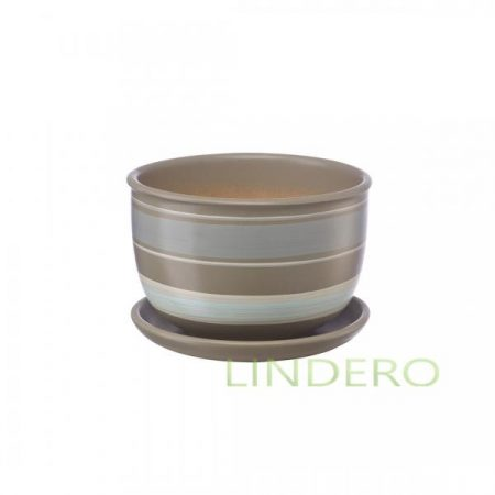 фото: Керамический горшок с подставкой, 0.5 л., серый с белыми полосками [bh-18-8]