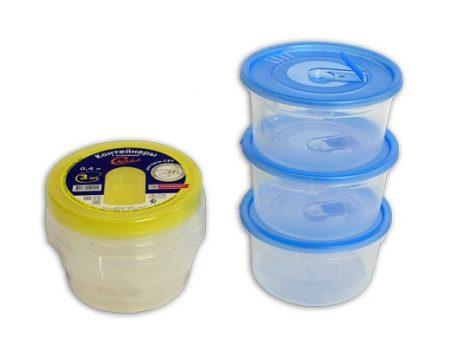 фото: Набор контейнеров для СВЧ 3шт 0.4л круглые с клапаном [C52001]