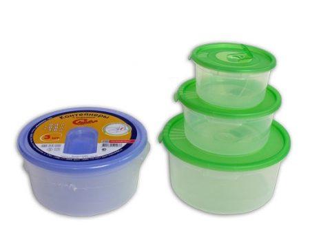 фото: Набор контейнеров СМАЙЛ 0.4+0.8+1.4л для СВЧ круглые [C52203]