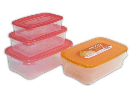 фото: Набор контейнеров КАСКАД для СВЧ 3шт 0.7+1.2+2.2л прямоугольные [C59003]