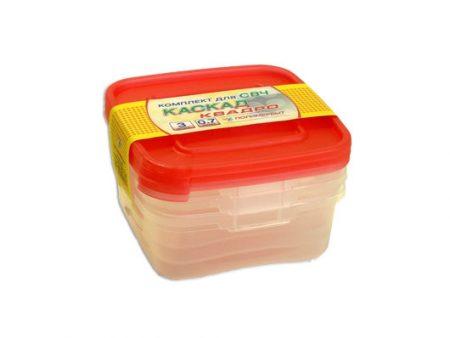 фото: Набор контейнеров КАСКАД для СВЧ 3шт 0.7л квадратные [C64001]