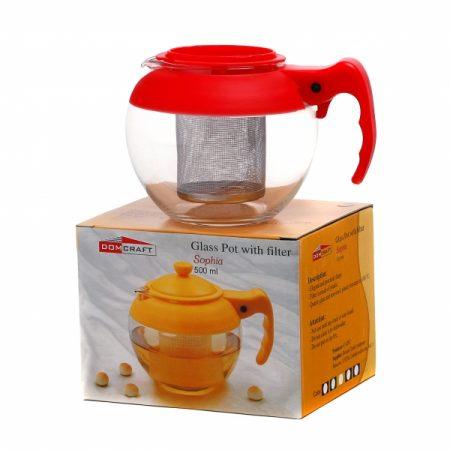 фото: Чайник СОФИЯ стеклянный с фильтром пластиковым 500мл в ассортименте [CN1209AC]