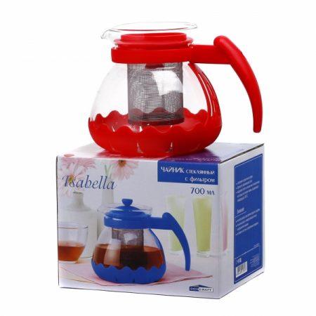 фото: Чайник ИЗАБЕЛЛА стеклянный с фильтром металлическим 700мл в ассортименте [CN1218AC]