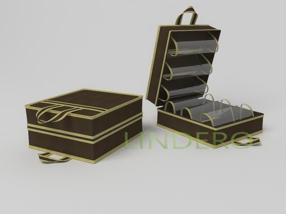 фото: Чемоданчик для хранения обуви на 6 пар, 35х40х20см (коричневый) [1513]