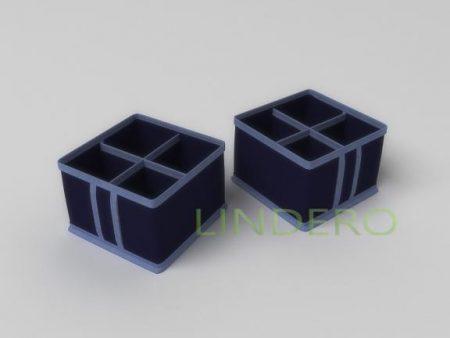 фото: Кофр для косметики и мелочей 4 ячейки 15х15х10см. (Синий) [1728]