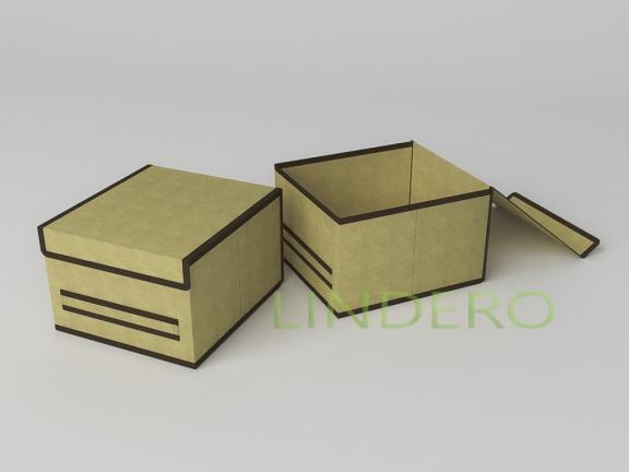 фото: Короб для хранения (жесткий) 25х27х17см (Классик бежевый) [1443]