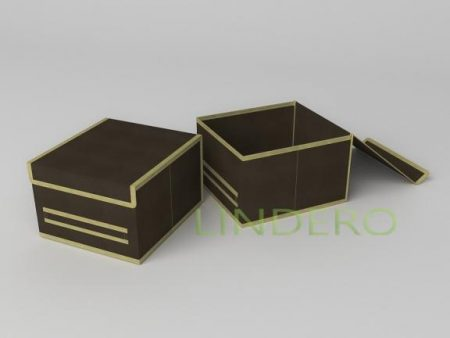 фото: Короб для хранения (жесткий) 25х27х17см (Классик коричневый) [1543]