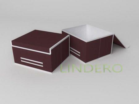 фото: Короб для хранения (жесткий) 35х30х20см (Классик Бордо) [1642]