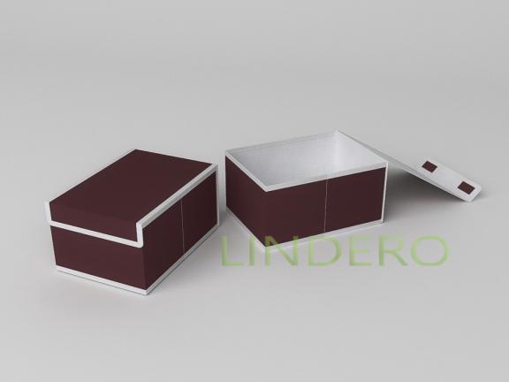 фото: Короб для хранения (жесткий) 20х27х14см (Классик Бордо) [1644]
