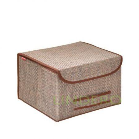 фото: Коробка для хранения с крышкой 35х30х22 ВИНИЛ (беж.) [BO-042]