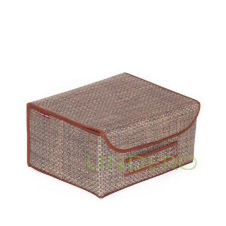 фото: Коробка для хранения с крышкой 35х28х18 ВИНИЛ (беж.) [BO-022]