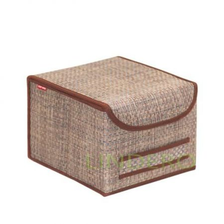 фото: Коробка для хранения с крышкой 25х27х20 ВИНИЛ (беж.) [BO-032]