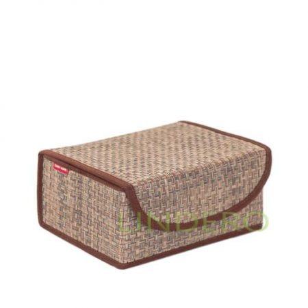 фото: Коробка для хранения с крышкой 23х17х10 ВИНИЛ (беж.) [BO-052]