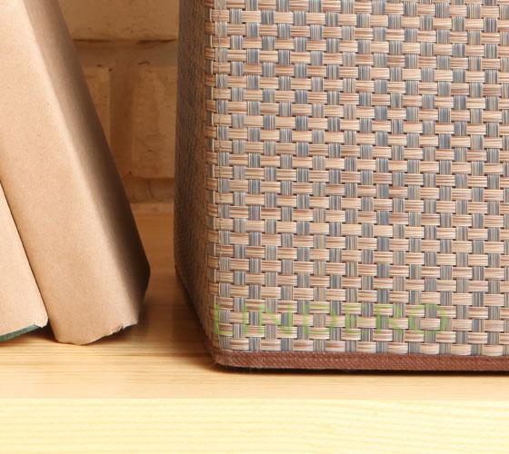 фото: Корзина для хранения с ручками 25х25х25 ВИНИЛ (беж.) [BA-032]