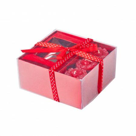 фото: Подарочный набор 3-х чайных свечей СЕРДЦЕ с подсвечником [GC11811]
