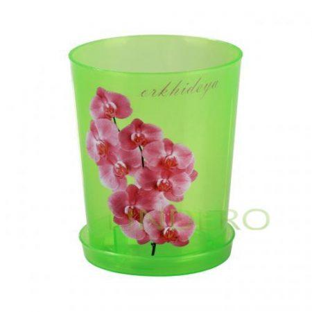 фото: Горшок цв. для орхидеи 1,2 л с поддоном (зел.прозрач.) [М1452]