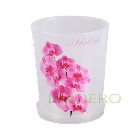 фото: Горшок цв. для орхидеи 1,2 л с поддоном (прозрач.) [М1603]