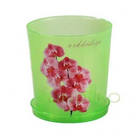 фото: Горшок цв. для орхидеи 1,8 л с поддоном (зел.прозрачный) [М1453]