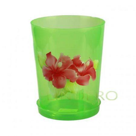 фото: Горшок цв. для орхидеи 3,5 л с поддоном (зел.прозрач) [М1455]