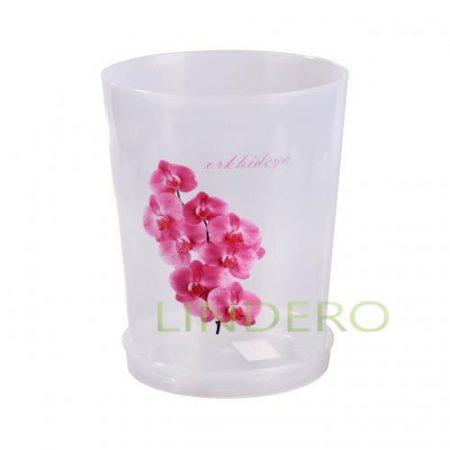 фото: Горшок цв. для орхидеи 3,5 л с поддоном (прозрач) [М1606]