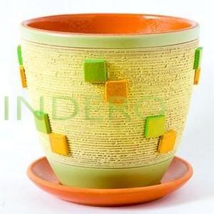 фото: Горшок КВАДРАТЫ керам. зеленый крокус №1 D12 []