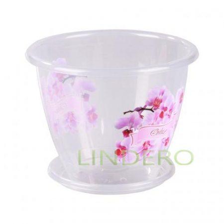 фото: Горшок цв. Флора (орхидея) 2л. с под. (уп.25) [М3063]
