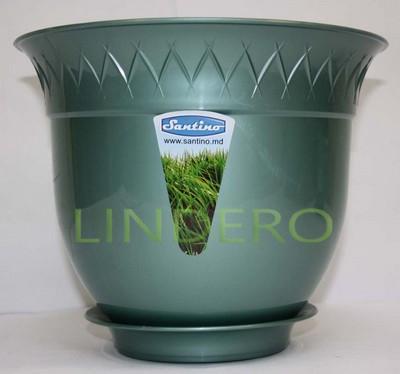 фото: Вазон (горшок) Лилия 1,5 л., зелёный перламутр [B1 VER-PER]