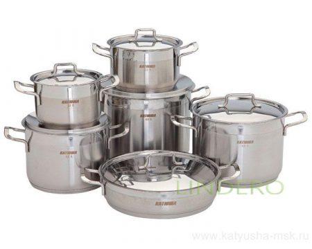 фото: Набор посуды 12пр. (кастрюля 1,5/2,0/3,5/4,5/6,5л., жаровня- 24см.,5,0л.) [600]