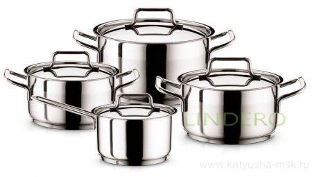 фото: Набор посуды 8пр. (кастрюля-2,0/3,5/4,5, ковш-1,0л.) [900]