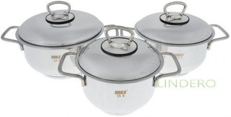 фото: Набор посуды 6пр. (1,5/2,0/2,5л) с метал. крышкой [мк500]