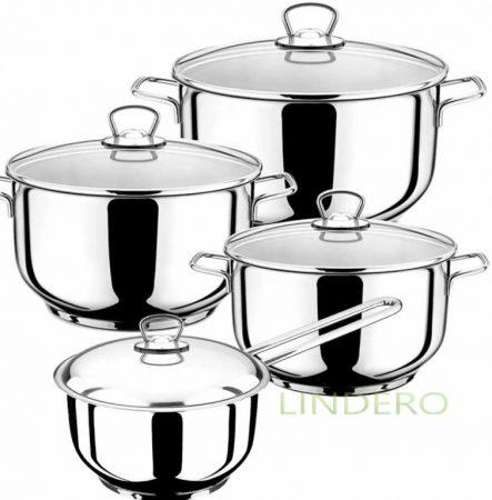 фото: Набор посуды 8пр. (2,5/3,0/4,5л, ковш 1,5л) со стеклянной крышкой [мк300]