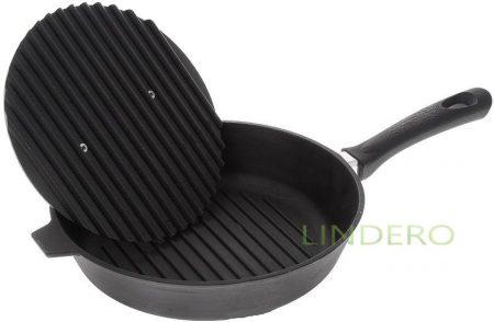 фото: Сковорода-гриль чугунная с бакелитовой ручкой 280*60  и крышкой-прессом [728г]