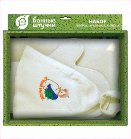 фото: Набор для бани из трех предметов шапка+рукавица+коврик ЛУЧШИЙ БАНЩИК [LGB41085]