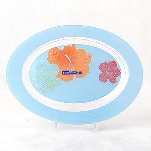 фото: Блюдо овальное Carine Hibiscus Blue, 35 см. [G0072]