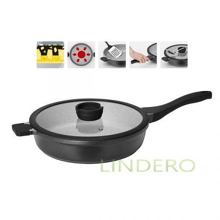 фото: Глубокая сковорода с антипригарным покрытием, с крышкой, 28 см, NADOBA, серия GRANIA [nad728115]