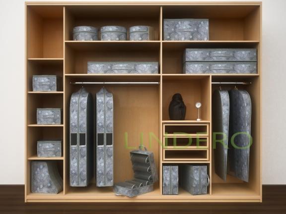 фото: Подвесной кофр (органайзер) открытый для обуви и бытовых мелочей 120х22х30см. (Серебро) [920/0]