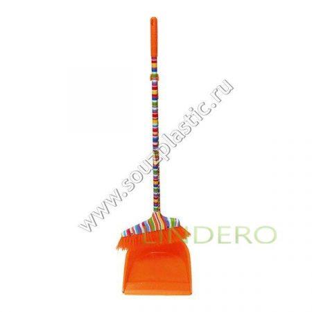 фото: Набор для уборки Ленивка::щетка и совок с длинными ручками, дизайн Оранжевая фантазия [MFK05002]