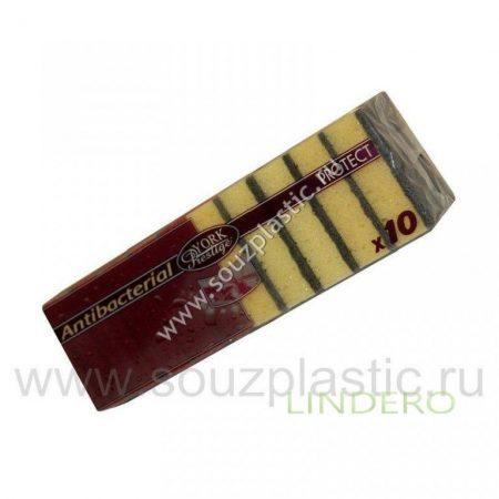 фото: Губка для посуды антибактериальная PROTECTA 10шт/уп [034010]