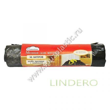фото: Мешок для мусора Особопрочный ПНД с завязками 30 литров, рулон 15 штук /40 [Х-152]
